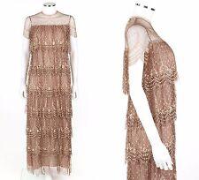 Vtg RINA DI MONTELLA Tan Tiered Floral Rhinestone Lace 1920's Flapper Dress Sz 6