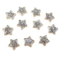 25 Gold Resin Stars Filled with Iridescent Glitter Flat Back Embellishments