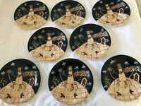 Certified International Susan Winget Christmas Snowman SALAD Plates - Set of 8