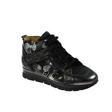 Charme Damen Sneaker High Top Leder Dunkelbraun Weiß Gold Schwarz Größe 37