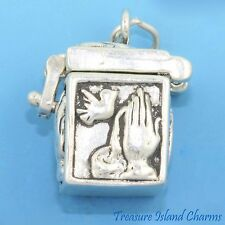 PRAYER BOX with PRAYING HANDS DOVES .925 Solid Sterling Silver Charm PENDANT