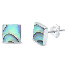 Abalone Shell Square Stud .925 Sterling Silver Earrings