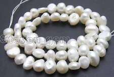 """6-7mm Baroque Natural White Pearl Beads for Jewelry Making DIY 14"""" Loose Strands"""