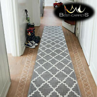 Modern Thick Hall Runner SKETCH TRELLIS grey Width 60-120cm extra long Stairs