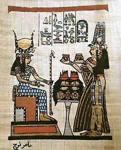 5 by 7 Egyptian Papyrus - Hand Painted - Queen Nefertari And Isis