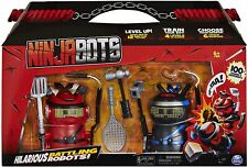Ninja Bots Hilarious Battling Robot with 3 Weapons & Trainer - 2 Pack - Blue/Red