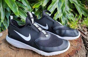 Nike Kids Flex Runner AT4662-001 Black/White Slip On Running Shoes Size 7 Y