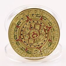 1Pc Mayan Prophecy Aztec Gold Calendar Plated Gold Commemorative Coin Collection