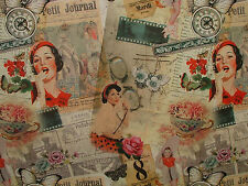 2M Vintage Glamour Girl DIGITALE Stampato Cotone Di Marca Cortina Tappezzeria FABRI