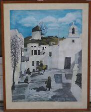 Gouache ancienne Grèce Calvo Originale Moulin