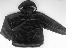 Boy's Black White Rock Rain Jacket Coat 12 years Hood School Anorak Wind-cheater