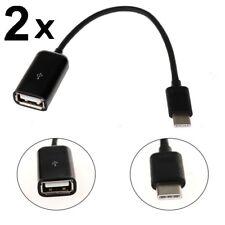 2 Pk Micro USB B Male to USB 2.0 A Female OTG Adapter Converter LG Samsung Sony