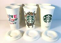 Starbucks Reusable Recyclable Re-enjoyable Floral Harvest, Love & Classic Cups