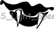 (2) Scary Vampire Teeth Spooky Halloween Vinyl Decal Car Window Sticker BLACK