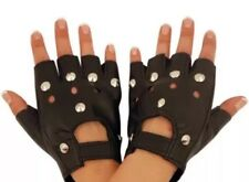 Women Punk Leather Studded Driving Biker Fingerless Mittens Motorcycle Gloves