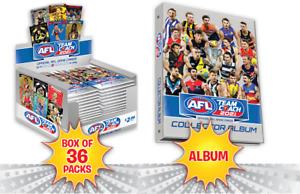 2021 AFL TEAMCOACH TEAM COACH FOOTY TRADING CARDS  SEALED BOX + 1 ALBUM FOLDER