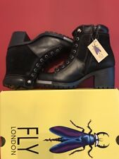 🆕FLY LONDON Leal689fly Women's Leather Suede Black Combat Boots Uk 5 BRAND NEW