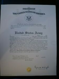 US ARMY OFFICER'S COMMISSION CERTIFICATE - HIGH QUALITY EMBOSSED SEALED SIGNED
