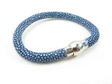 Genuine Polished Stingray Skin Cuff Bracelet Magnetic Lock Blue + Free Shipping