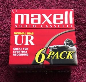 MAXELL 6 PACK UR 60 Minute Blank Audio Cassette Tapes Normal Bias New Sealed.