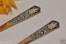 Amfarco Siam Brass w/ Sterling Silver Buddha Inlay Salad Serving Fork Spoon 1930