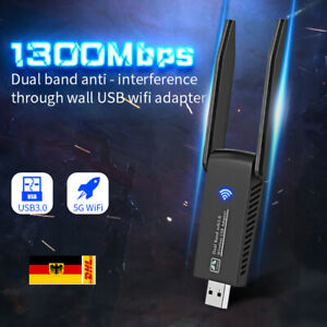 Adapter WLAN USB 3.0 WIFI Stick 2,4/5.8GHz Dual Band Antenne Dongle für PC 1300M