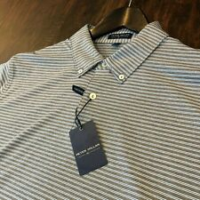 NWT Peter Millar Crown Crafted Tailored Fit Pin Stripe Men's Short Sleeve Polo