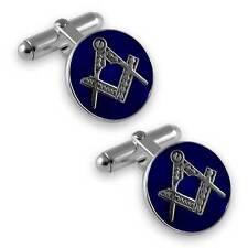 Plata de ley Masónico esmalte azul gemelos redondos