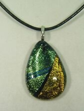 "BUTW Gorgeous Dichroic Glass 49.8mm 2Tone Tear Pendant 16-18"" Leather Cord 8695D"