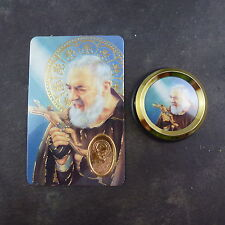 Catholic St. Padre Pio car plaque gift magnet adhesive gold + prayer card