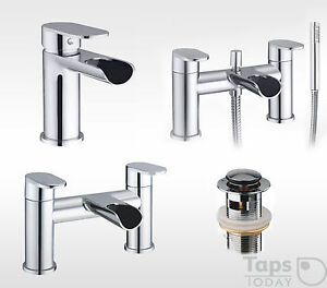 Round Waterfall Bathroom Tap Set, Basin Mixer - Bath Filler - Bath Shower Mixer