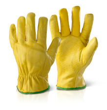 Fleece Lined Soft Leather Driver / Workmans Gloves - All Sizes