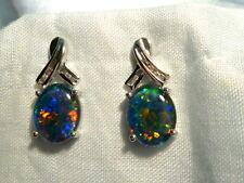 Opal Earrings 14ct White Gold & Diamond Stud.Triplet Opals 10 x 8mm Oval. #60465