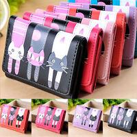 New Fashion Women Girls Wallet Cute Cat Pattern Purse Short Cluth Card Holder