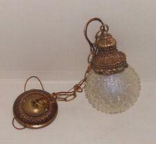 Vintage MCM Hollywood Regency Cut Glass Globe Light Fixture Swag Hanging Pendant