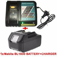 18V 3.0AH Battery for Makita BL1830 BL1815 LXT400 BJS BJR Li-Ion+Rapid Charger