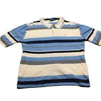 Y2K VTG PROJEK4E Striped Terry Towel Polo Shirt Bold L 2000s Cyberpunk Knit Mesh