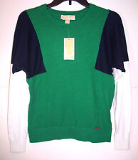 Michael Kors Scoop Neck Pepper Green Knit Sweater Large QH56MME04A $130.00