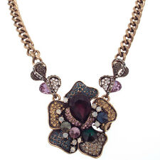 Luxury Flower Bib Pendant Necklace Jewelry Crystals Multi-color Vintage Design