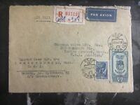 1947 Moscow Russia  Registered Airmail Cover to Indiana Orchard USA