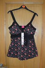 Black & Pink Floral Print Vest Strappy Top with Bow Size 12 BNWT