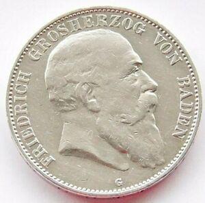 GERMAN 5 Mark 1903 G States BADEN Duke Friedrich 90% Silver EMPIRE WW1 NICE Coin