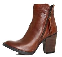 Steve Madden Ryat Leather Ankle Bootie Brown Women Sz 8.5 M 4086 *