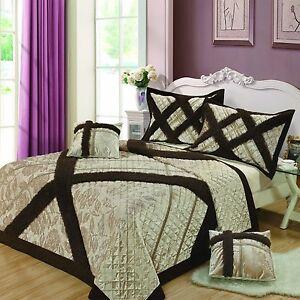 DaDa Bedding Soft Elegant Velvet Leaves Elegant Champagne Brown Bedspread Set