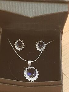 Ladies 3 Piece Sapphire Earrings And Pendant