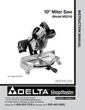 "Delta Shopmaster MS210 10"" Miter Saw Instruction Manual"