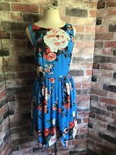 Oasis Blue Floral Fit & Flare Dress Size 10 NWT Sleeveless Round Neck