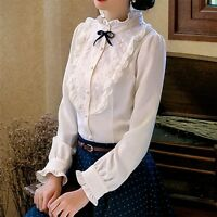 Lolita Girls Vintage Bow Lace Pleated Shirt Victorian Gothic Lolita Lace Shirt