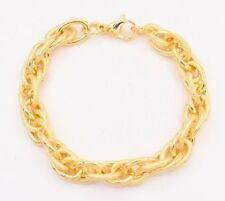 Textured Plain Twisted Oval Rolo Bracelet 14K Yellow Gold Clad Stainless Steel