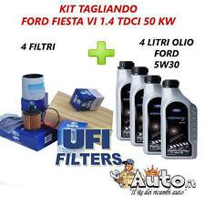 KIT TAGLIANDO FILTRI UFI  + 4 LITRI OLIO FORD 5W30 FORD FIESTA VI 1.4 TDCI 50KW
